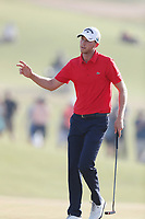 Daniel Berger (USA) reacts after putting out on the 18th hole during the 118th U.S. Open Championship at Shinnecock Hills Golf Club in Southampton, NY, USA. 17th June 2018.<br /> Picture: Golffile | Brian Spurlock<br /> <br /> <br /> All photo usage must carry mandatory copyright credit (&copy; Golffile | Brian Spurlock)
