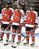 Josh Rabbani (RPI - 24), C.J. Lee (RPI - 22), Tyler Helfrich (RPI - 15) - The visiting Rensselaer Polytechnic Institute Engineers tied their host, the Northeastern University Huskies, 2-2 (OT) on Friday, October 15, 2010, at Matthews Arena in Boston, MA.