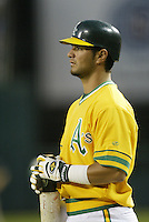 Eric Chavez of the Oakland Athletics during a 2002 MLB season game against the Los Angeles Angels at Angel Stadium, in Anaheim, California. (Larry Goren/Four Seam Images)