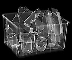 X-ray image of full recycle bin (white on black) by Jim Wehtje, specialist in x-ray art and design images.