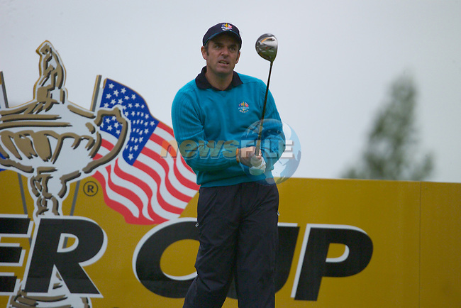 20th September, 2006. European Ryder Cup team member Paul McGinley practises on the 12th tee box during practise Day 2 of the Palmer Course at the K CLub..Photo: Eoin Clarke/ Newsfile.<br />