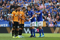 Wolverhampton Wanderers' Joao Moutinho (left) and Raul Jimenez jostle for position with Leicester City's Caglar Soyuncu and Jamie Vardy (right) as they wait for a corner kick to be taken<br /> <br /> Photographer Stephen White/CameraSport<br /> <br /> The Premier League - Leicester City v Wolverhampton Wanderers - Sunday 11th August 2019 - King Power Stadium - Leicester<br /> <br /> World Copyright © 2019 CameraSport. All rights reserved. 43 Linden Ave. Countesthorpe. Leicester. England. LE8 5PG - Tel: +44 (0) 116 277 4147 - admin@camerasport.com - www.camerasport.com