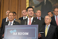 The Speaker of the United States House Paul Ryan (Republican of Wisconsin) makes remarks as US Senate and House Republicans announce the new tax reform plan endorsed by US President Donald J. Trump in the US Capitol in Washington, DC on Wednesday, September 27, 2017.  US Senate Majority Leader Mitch McConnell (Republican of Kentucky) looks on at right. Photo Credit: Ron Sachs/CNP/AdMedia