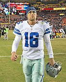 Dallas Cowboys quarterback Matt Cassel (16) walks off the field after leading his team to a 19-16 victory over the Washington Redskins at FedEx Field in Landover, Maryland on Monday, December 7, 2015. <br /> Credit: Ron Sachs / CNP