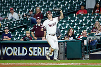 Mississippi State Bulldogs first baseman Tanner Allen (5) catches a fly ball in foul territory during the game against the Houston Cougars in game six of the 2018 Shriners Hospitals for Children College Classic at Minute Maid Park on March 3, 2018 in Houston, Texas. The Bulldogs defeated the Cougars 3-2 in 12 innings. (Brian Westerholt/Four Seam Images)