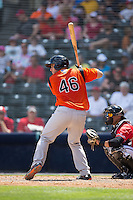 David Freitas (46) of the Bowie Baysox at bat against the Richmond Flying Squirrels at The Diamond on May 24, 2015 in Richmond, Virginia.  The Flying Squirrels defeated the Baysox 5-2.  (Brian Westerholt/Four Seam Images)