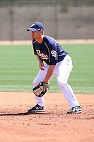 Logan Forsythe, San Diego Padres 2010 minor league spring training..Photo by:  Bill Mitchell/Four Seam Images.