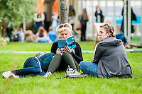 Friday  27 May 2016<br /> Pictured: People relax at the hay in the warm weather <br /> Re: The 2016 Hay festival take place at Hay on Wye, Powys, Wales