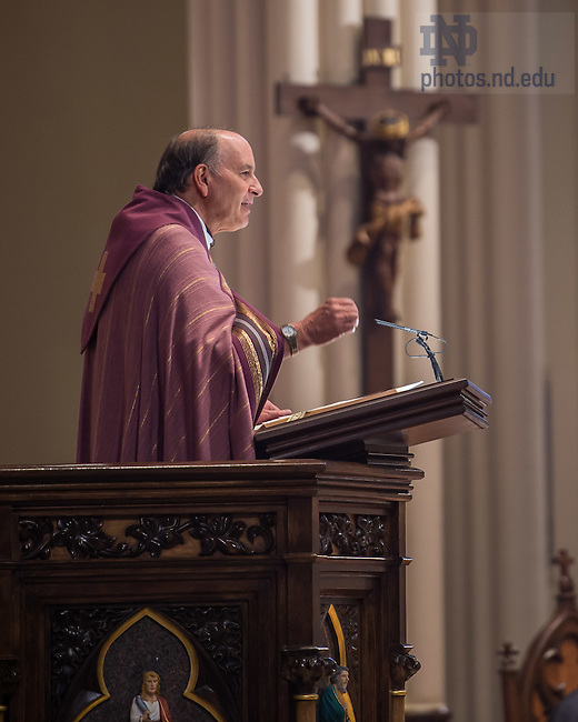 Dec. 13, 2015; Rev. Peter Rocca, C.S.C. gives the homily during the 10am Sunday Mass at the Basilica of the Sacred Heart. (Photo by Matt Cashore/University of Notre Dame)