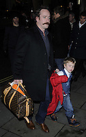 Matthew Macfadyen & his son.The English National Ballet's Christmas performance of 'The Nutcracker' at the St Martins Lane Hotel, London, England..14th December 2011.full length black coat louis vuitton bag luggage kid child father dad moustache mustache facial hair .CAP/CAN.©Can Nguyen/Capital Pictures.