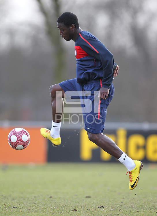 Eddie Johnson shoots on goal. USA men training in Amsterdam in preparation for their match against the Netherlands, March 1, 2010..