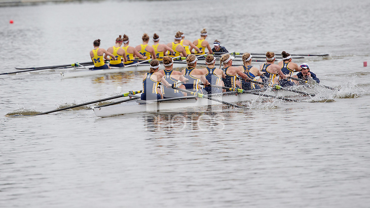 Redwood Shores, CA - April 2, 2017:  Cal Women's Crew competes in the 2017 Pac-12 Challenge.  The Varsity 8+ races Michigan: Hannah Christopher (Coxswain), Rowan McKellar, Sydney Payne, Dorthee Beckendorff, Inger Kavlie, Dana Moffat<br /> Juliane Faralisch, Mia Croonquist, Charlotte Wesselmann (Bow).