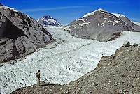 Hiker on ridge above Muir Glacier, 8/26/78, Glacier Bay National Park, Alaska, AGPix_0663.