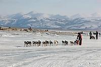Lance Mackey on the river ice at Unalakleet. Photo by Jon Little.