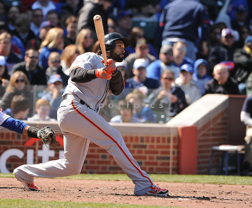 San Francisco Giants Angel Pagan (16) during a game against the Chicago Cubs on April 14, 2013 at Wrigley Field in Chicago, IL. The Giants beat the Cubs 10-7.