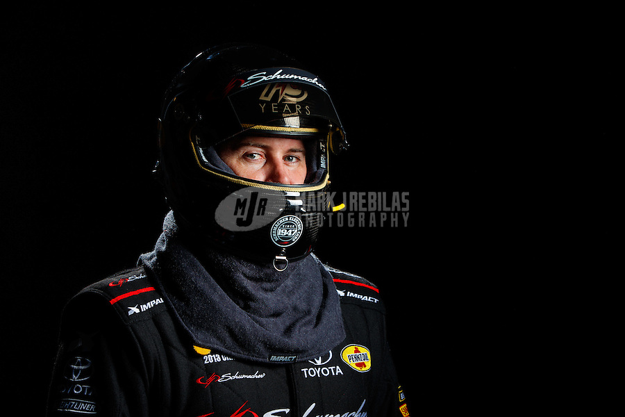 Feb 8, 2017; Pomona, CA, USA; NHRA top fuel driver Shawn Langdon poses for a portrait during media day at Auto Club Raceway at Pomona. Mandatory Credit: Mark J. Rebilas-USA TODAY Sports