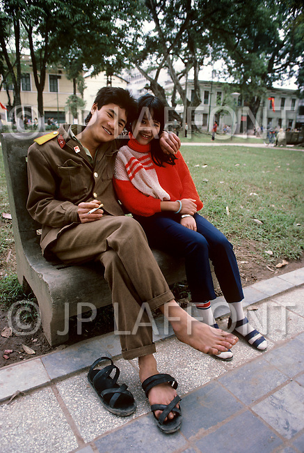 Hanoi, February 1988. Lovers can be seen all over the Hoan Kiem Lake park.