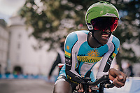 Samuel Mugisha (RWA)<br /> <br /> MEN UNDER 23 INDIVIDUAL TIME TRIAL<br /> Hall-Wattens to Innsbruck: 27.8 km<br /> <br /> UCI 2018 Road World Championships<br /> Innsbruck - Tirol / Austria