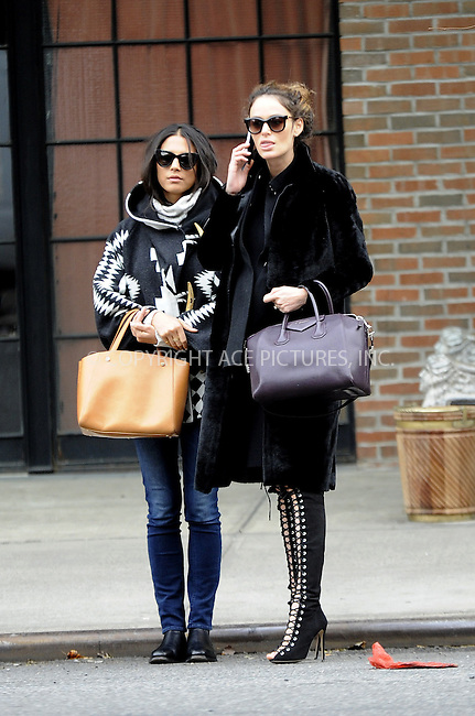 WWW.ACEPIXS.COM<br /> <br /> December 4 2014, New York City<br /> <br /> Models Jessica Gomes (L) and Nicole Trunfio leave a downtown hotel on December 4 2014 in New York City<br /> <br /> By Line: Curtis Means/ACE Pictures<br /> <br /> <br /> ACE Pictures, Inc.<br /> tel: 646 769 0430<br /> Email: info@acepixs.com<br /> www.acepixs.com