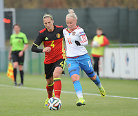 20161023 - TUBIZE , BELGIUM : Belgian Maud Coutereels (L) and Russian Ekatarina Sochneva (R)  pictured during a friendly game between the women teams of the Belgian Red Flames and Russia at complex Euro 2000 in Tubize , Sunday 23 October 2016 ,  PHOTO Dirk Vuylsteke | Sportpix.Be
