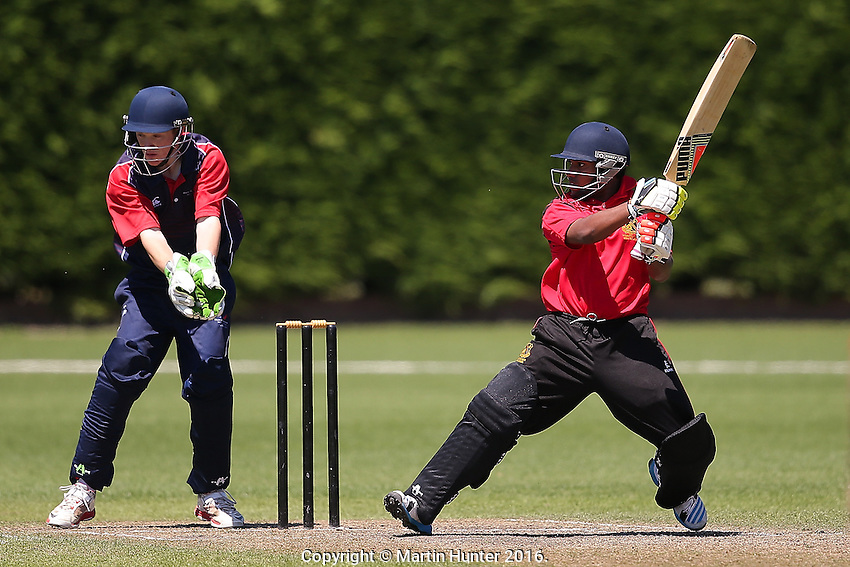 Hutt International vs. Hamilton Boys High School during the 2016 Secondary School Boys First XI Cup Finals at Bert Sutcliffe Oval in Lincoln, New Zealand on Friday, 9 December 2016. Photo: Martin Hunter/ lintottphoto.co.nz