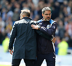 Carlos Carvalhal manager of Sheffield Wednesday with David Wagner manager of Huddersfield Town  during the English Championship play-off 1st leg match at the John Smiths Stadium, Huddersfield. Picture date: May 13th 2017. Pic credit should read: Simon Bellis/Sportimage