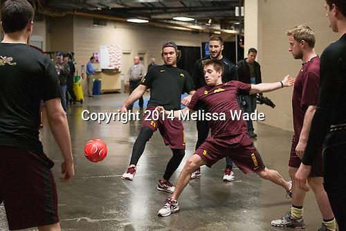 Ryan Reilly (MN - 9) - The University of Minnesota Golden Gophers practiced on Wednesday, April 9, 2014, at the Wells Fargo Center in Philadelphia, Pennsylvania during the 2014 Frozen Four.