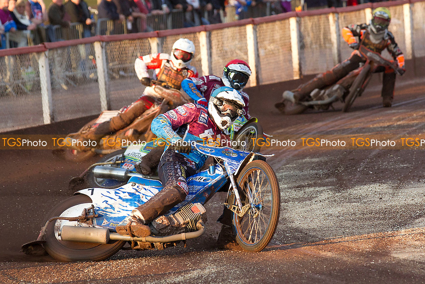 Kauko Nieminen and Justin Sedgmen of Lakeside Hammers lead in heat 2 - Lakeside Hammers vs Wolverhampton Wolves - Sky Sports Elite League Speedway at Arena Essex Raceway, Purfleet - 20/07/12 - MANDATORY CREDIT: Ray Lawrence/TGSPHOTO - Self billing applies where appropriate - 0845 094 6026 - contact@tgsphoto.co.uk - NO UNPAID USE.