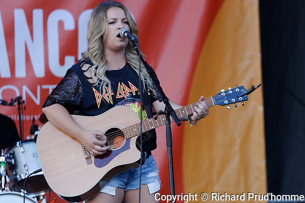 Montreal, Canada. 6/11/2018.Country singer Gabrielle Goulet from Ontarion, Canada performs on stage at the Francofolie French music festival in downtown Montreal