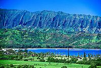 View across Hanalei Bay, near Princeville, Kaua'i, Hawaii USA