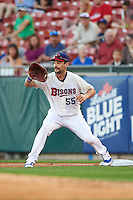 Buffalo Bisons first baseman Casey Kotchman (55) stretches for a throw during a game against the Lehigh Valley IronPigs on August 29, 2016 at Coca-Cola Field in Buffalo, New York.  Buffalo defeated Lehigh Valley 3-2.  (Mike Janes/Four Seam Images)