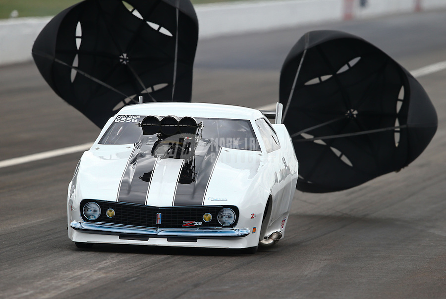 Sept. 1, 2013; Clermont, IN, USA: NHRA pro mod driver Craig Cawte during qualifying for the US Nationals at Lucas Oil Raceway. Mandatory Credit: Mark J. Rebilas-