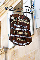 Chez Germaine Fabrique de Macarons et Caneles, almond bisquits. The town. Saint Emilion, Bordeaux, France