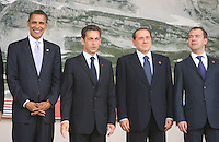 L'AQUILA 08/07/2009 - G8 SUMMIT 2009 L'AQUILA - NELLA FOTO BARACK OBAMA, NICOLAS SARKOZY, SILVIO BERLUSCONI E DMITRY MEDVEDEV.