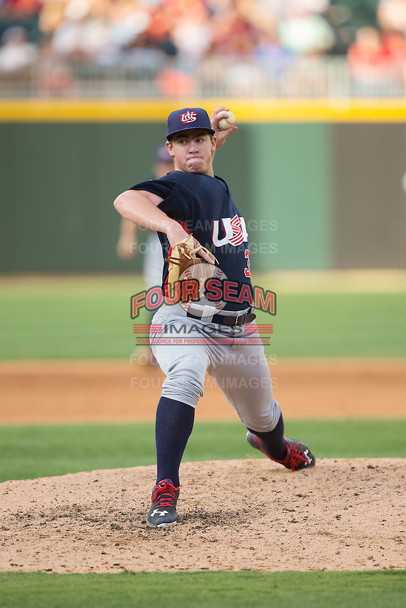 US Collegiate National Team relief pitcher Brendan McKay (38) in action against the Cuban National Team at BB&T BallPark on July 4, 2015 in Charlotte, North Carolina.  The United States Collegiate National Team defeated the Cuban National Team 11-1.  (Brian Westerholt/Four Seam Images)