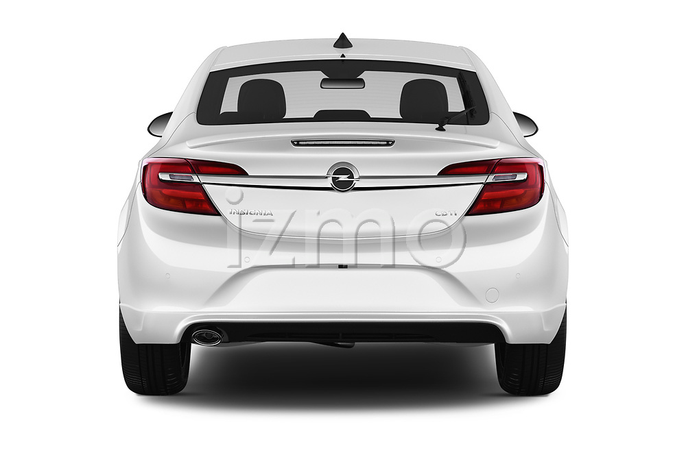 Straight rear view of 2016 Opel Insignia Cosmo 5 Door hatchback Rear View  stock images