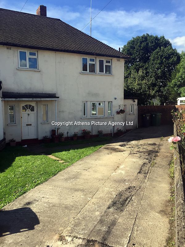 """Pictured: Scorch marks still visible on the drive of the house where John and Eva McMurray, the grandparents of footballer Gareth Bale, live in Cardiff, Wales, UK<br /> Re: The elderly grandparents of soccer star Gareth Bale's fiancee have gone into hiding after a suspected """"grudge attack"""" on their home.<br /> Pensioners John McMurray, 79, and wife Eva, 84, were asleep when their car was set on fire and bricks hurled through their windows.<br /> Real Madrid star Gareth, 27, was yesterday(sun) comforting Emma Rhys Jones, 25, who always visits the couple when she is home from Spain.<br /> Retired gamekeeper Mr McMurray and his wife have been moved into a safe house while police investigate the arson attack in Llanishen, Cardiff.<br /> A neighbour said: """"We were woken up by a loud crack and a flash - I could see the car was on fire in their driveway.<br /> """"I called the fire brigade and I could see the McMurray's trying to get out of their house."""