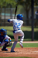AZL Royals Kyle Isbel (22) at bat during a rehab assignment in an Arizona League game against the AZL Dodgers Lasorda on July 4, 2019 at Camelback Ranch in Glendale, Arizona. The AZL Royals defeated the AZL Dodgers Lasorda 4-1. (Zachary Lucy/Four Seam Images)
