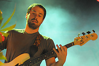 Jon Walker, bassist with Vegas based emo rockers Panic at the Disco, performs at Bamboozle 08 at  Meadowlands NJ