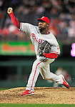 28 September 2010: Philadelphia Phillies' pitcher Jose Contreras on the mound against the Washington Nationals at Nationals Park in Washington, DC. The Nationals defeated the Phillies 2-1 on an Adam Dunn walk-off solo homer in the 9th inning to even up their 3-game series one game apiece. Mandatory Credit: Ed Wolfstein Photo