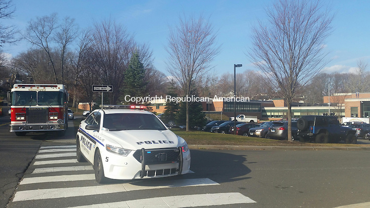 WATERTOWN, CT, 10 December, 2015 - 121015LW02 - Police and firefighters respond to Swift Middle School in Watertown Thursday after several students complained of an illness possibly linked to a foul odor at the school.<br />