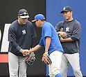 (L-R) Masahiro Tanaka (Yankees), Daisuke Matsuzaka (Mets), Hiroki Kuroda (Yankees),<br /> MAY 15, 2014 - MLB :<br /> Daisuke Matsuzaka of the New York Mets shakes hands with Masahiro Tanaka of the New York Yankees during practice before the Major League Baseball game at Citi Field in Flushing, New York, United States. (Photo by AFLO)