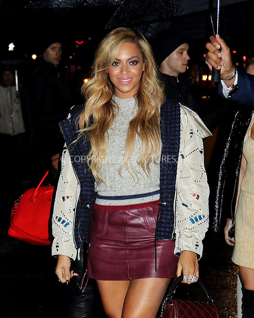 WWW.ACEPIXS.COM<br /> <br /> March 31 2015, New York City<br /> <br /> Singer Beyonce arrives at a Chanel Fashion Show at the Park Lane Armory on March 31 2015 in New York City<br /> <br /> By Line: Philip Vaughan/ACE Pictures<br /> <br /> ACE Pictures, Inc.<br /> tel: 646 769 0430<br /> Email: info@acepixs.com<br /> www.acepixs.com