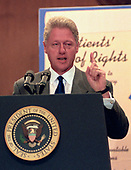 "United States President Bill Clinton makes remarks at an event in the Dirksen Senate Office Building on Capitol Hill to advocate for the passage of the ""Patient's Bill of Rights"" on Thursday, July 16, 1998.<br /> Credit: Ron Sachs / CNP"