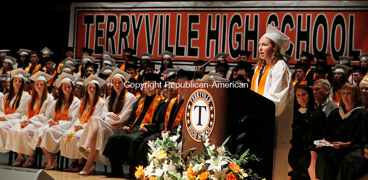 Terryville, CT-061814MK04 Julia Pilarski delivers the salutatory address to her classmates during the Terryville High School's class 2014 commencement exercises on Wednesday evening.  One-hundred and nineteen graduates received diplomas. Michael Kabelka / Republican-American