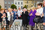 President Higgins unveils a plaque to honour Listowel town in winning the National Tidy Towns title at his visit to Listowel on Saturday.