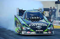 Oct. 5, 2012; Mohnton, PA, USA: NHRA funny car driver Alexis DeJoria during qualifying for the Auto Plus Nationals at Maple Grove Raceway. Mandatory Credit: Mark J. Rebilas-