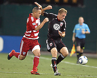 Daniel Allsopp #9 of D.C. United battles with Daniel Hernandez #2 of FC Dallas during an MLS match at RFK Stadium in Washington D.C. on August 14 2010. Dallas won 3-1.