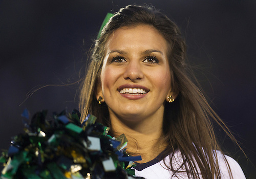October 20, 2012:  Notre Dame cheerleader Meredith Angel performs during NCAA Football game action between the Notre Dame Fighting Irish and the BYU Cougars at Notre Dame Stadium in South Bend, Indiana.  Notre Dame defeated BYU 17-14.