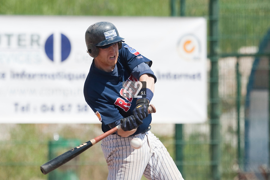 24 May 2009: Nicolas Dubaut of Rouen is seen at bat during the 2009 challenge de France, a tournament with the best French baseball teams - all eight elite league clubs - to determine a spot in the European Cup next year, at Montpellier, France. Rouen wins 7-5 over Savigny.